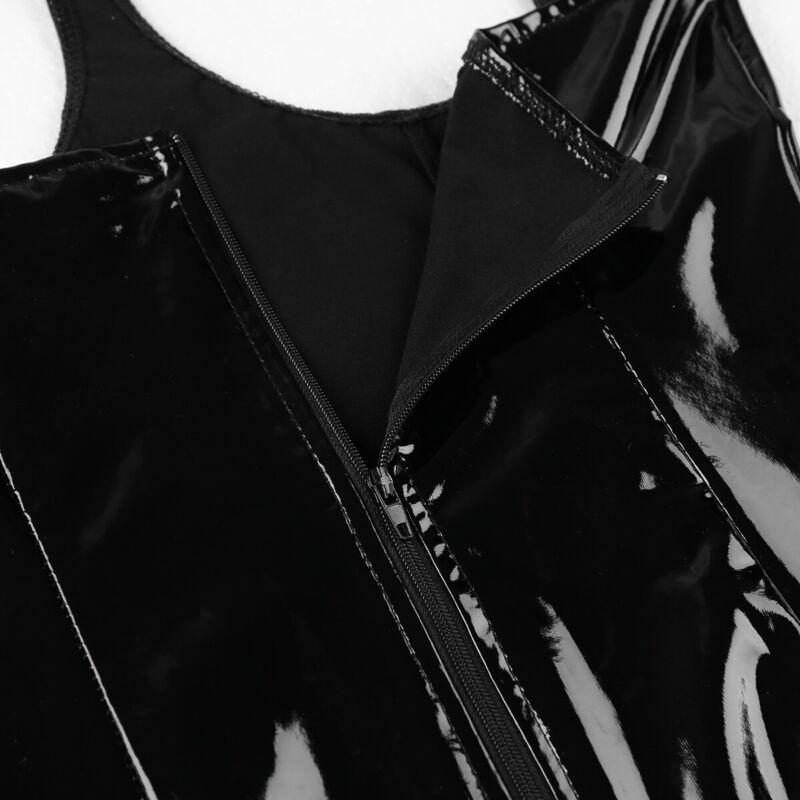 Damen Glänzend Kleid busenfreier Bodysuit Bodycon Nachtkleid mit Ketten Quasten 11