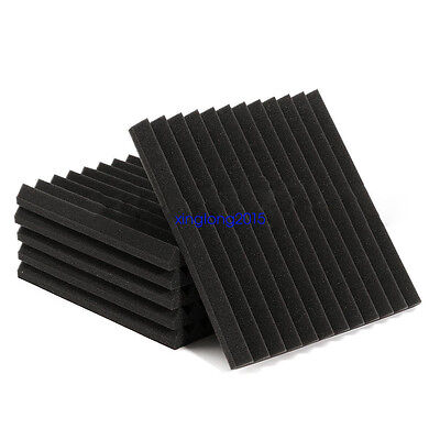 "24 Pack Acoustic Wedge Studio Soundproofing Foam Wall Tiles 12"" X 12"" X 1"" 3"