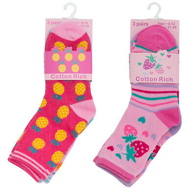 New Girls Cute Design Socks Cheap Multipack Heart Flower Print Cotton Rich Socks 2