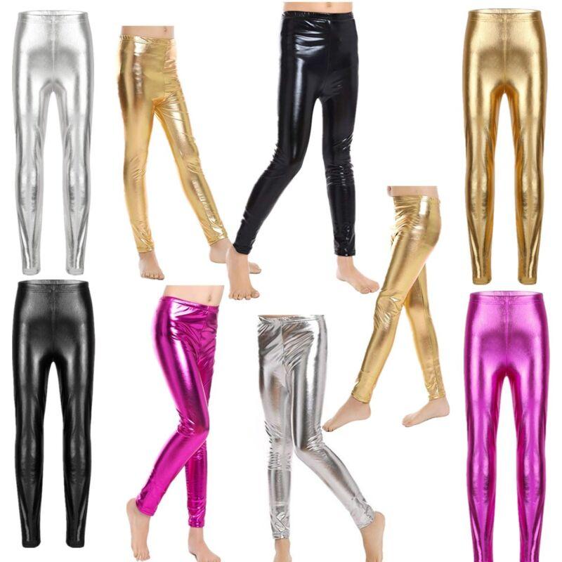 Girls Metallic Stretchy Leggings Shiny Pants Skinny Gym Dance Trousers Fashion 2