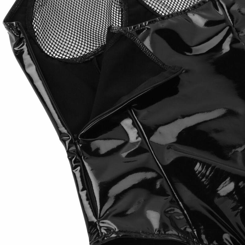 Damen Leder-optik Bustier Körper BH Harness Kette Korsett mit Strumpfhalter Sexy 6