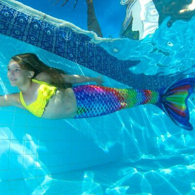 FIN FUN MERMAID Tail Swim Swimming Skin with Monofin Rainbow Reef Size 6-12  NEW