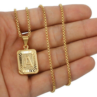 "18""-30"" Womens Mens Gold Filled A-Z Initial Necklace Letter Pendant Steel Chain 6"