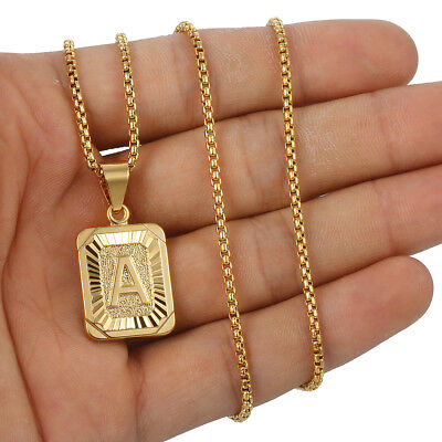 Womens Mens Gold Filled A-Z Initial Necklace Letter Pendant Box Chain Unisex 8