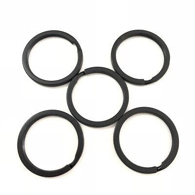 Strong Steel Solid Split Key Ring Black Metal Loop Flat Key Chain Holder 25-35MM 9
