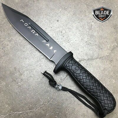 """12"""" TACTICAL SURVIVAL Rambo Hunting FIXED BLADE KNIFE Army Bowie w/ SHEATH BLACK 2"""