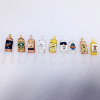 6pcs Dollhouse Miniature Wine Whisky Bottles Shop Pub Bar Drinks Accessory 6