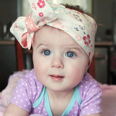 Baby Girls Floral Headwrap Top Knot Big Bow Turban Tie Headband Hair Accessories 12