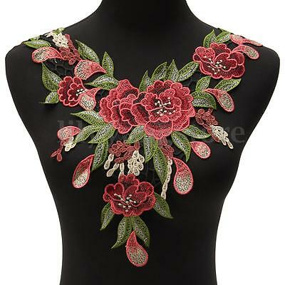 DIY Lace Embroidered Flower Neckline Collar Trim Clothes Sewing Applique Patch 4