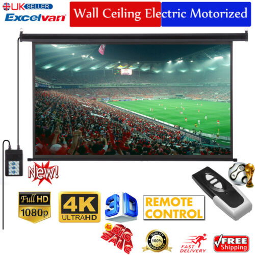 100-Inch 16:9 Electric Motorized HD Projector Projection Screen Cinema Theater A 2