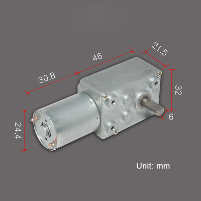 DC6V 12V 24V 0.6-200RPM Micro Worm Gear Reducer Motor with Metal Gearbox 32GZ370 3