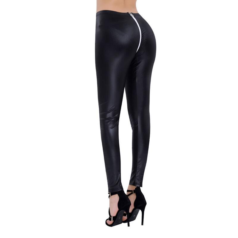 Damen Glänzend Sexy Gogo Wetlook Leggings mit Zwei Wege Reißverschluss Schwarz 2