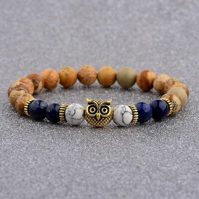 8MM Owl Buddha Beaded Natural Lava Stone Gold Silver Charm Fashion Men Bracelets 8