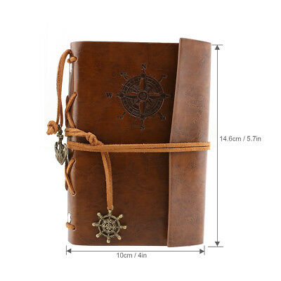 Vintage Retro Journal Travel Diary Notepad Leather Cover Blank Note Book Brown 10