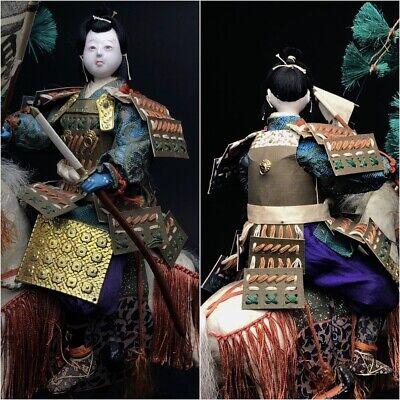 Antique SAMURAI Japanese Warrior MOMOTARO MUSHA Armor Suit YOROI NINGYO Horse 3