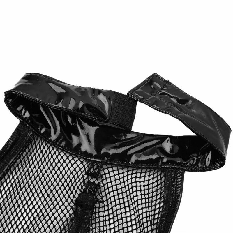 Damen Leder-optik Bustier Körper BH Harness Kette Korsett mit Strumpfhalter Sexy 7