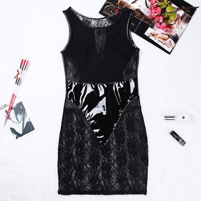 Damen Wetlook Minikleid Partykleid Transparent Bodysuit Spleiß Reizvoll Clubwear 8