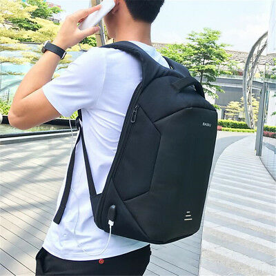 16''  Mens Anti-theft Waterproof Laptop Travel Shool Bag Backpack With USB Port 12