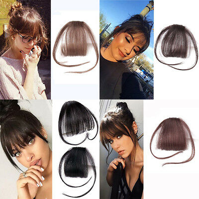Thin Neat Air Bangs Remy Human Hair Extensions Clip in on Fringe Front Hairpiece 6