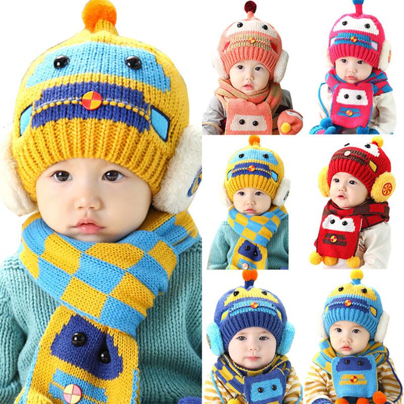 Baby Toddler Kids Boy Girl Winter Warm Knitted Pom Pom Beanie Hat Cap Scarf Sets 2