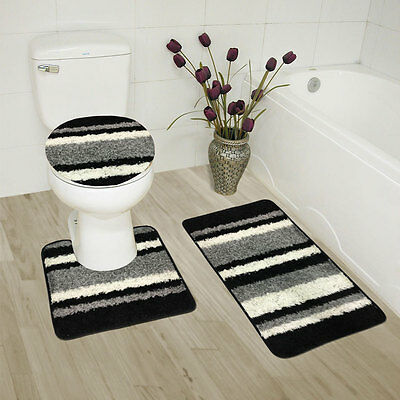 1 of 7free shipping abby 3 piece bathroom rug set bath rug contour rug lid cover - 3 Piece Bathroom Rug Sets