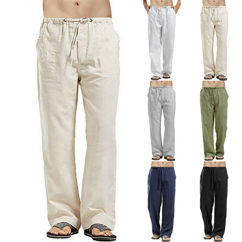 Mens Summer Casual Cotton Linen Pants Yoga Drawstring Loose Elasticated Trousers 2