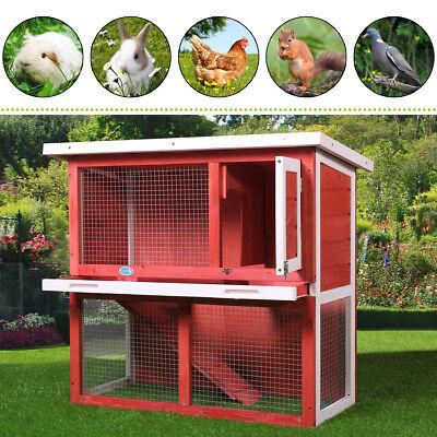 Red Wooden En Coop Hen House 36 Rabbit Wood Hutch Poultry Cage Habitat 3