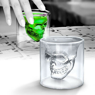4x 3D Crystal Skull Head Vodka Shot Whiskey Wine Beer Tea Glass Drinking Cup V2