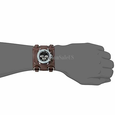 Roman Numerals Personality Decoration Mens Sport  Wrist Watch Wide Leather Band 4