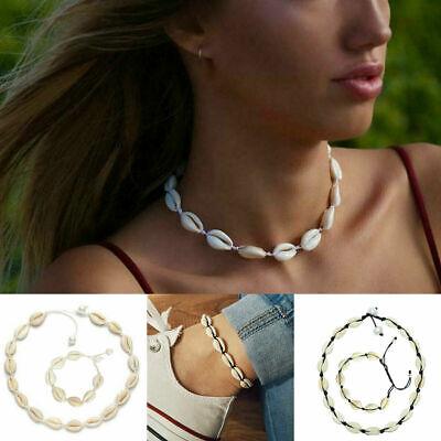Boho Bohemian Sea Shell Beaded Pendant Chain Choker Necklace Women Beach Jewelry 11