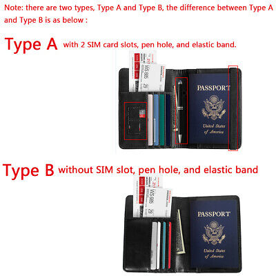Slim Leather Travel Passport Wallet Holder RFID Blocking ID Card Case Cover US 2