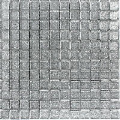 Glasmosaik Fliesen Silber Glitzer 25x25x4mm 4