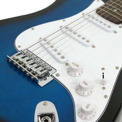 Full Size Blue Electric Guitar with Amp, Case and Accessories Pack Beginner 3