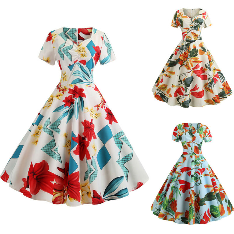 5307e38f56ce2 WOMENS VINTAGE ROCKABILLY Sleeveless Floral Housewife Swing Pinup Party  Dress