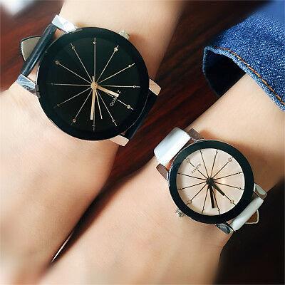 Men Women Leather Strap Line Analog Quartz Ladies Wrist Watches Fashion Watch 2