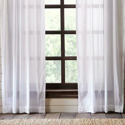 """84"""" Long White Sheer Ruffled Window Curtains Romantic Cottage Cotton 2 Panels 6"""
