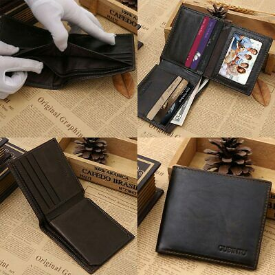 New Genuine Leather Mens Purse Bifold Credit Card Wallet RFID Blocking Anti-Scan 8