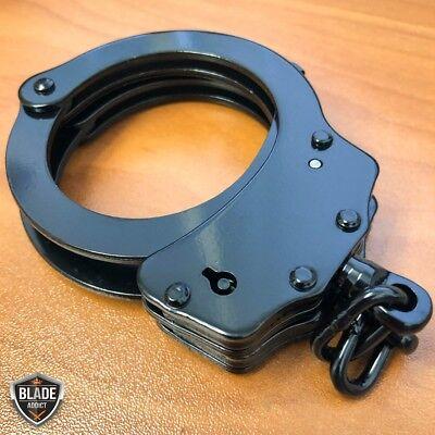 REAL Police Handcuffs DOUBLE LOCK Professional BLACK STEEL Hand Cuffs w/ Keys 4