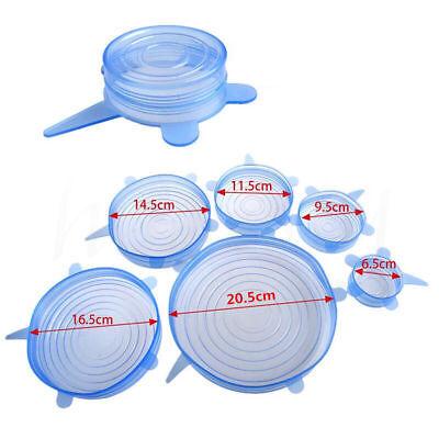 Stretch Reusable Silicone Bowl Wraps Food Saver Cover Seal Lids NSTA LIDS 6 PCS 2