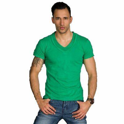 T-shirt Maglietta uomo collo a V manica corta maniche corte slim cotone xl xxl 3
