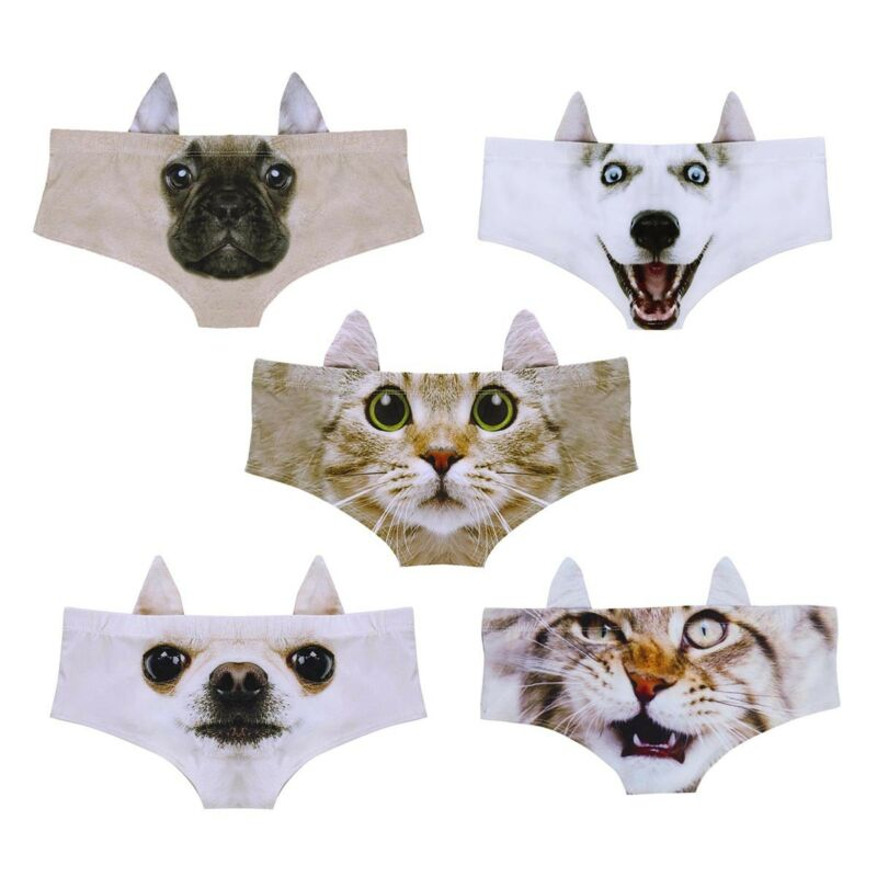 Women's Sexy Panties 3D Cartoon Animal Printed Briefs Underwear Cute with Ears 3