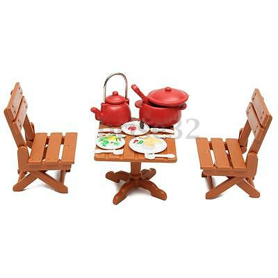 Plastic Dining Table Miniature Kitchen Doll House Furniture Toy Set Gifts 3