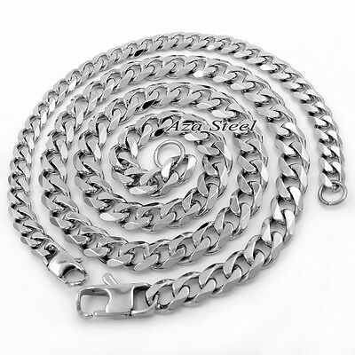 "New 7/9/11mm 18-40"" MENS Boys Solid Stainless Steel Silver Curb Chain Necklace 4"