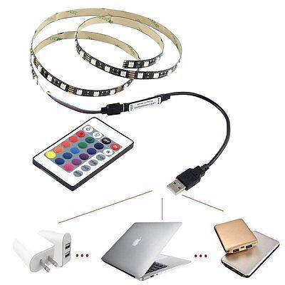 5V 5050 60SMD/M RGB LED Strip Light Bar TV Back Lighting Kit+USB Remote Control 7