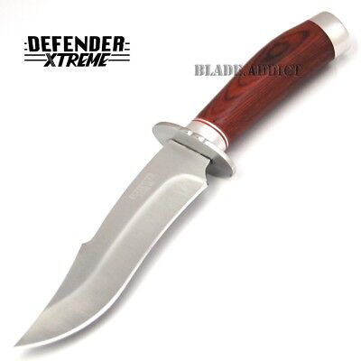 "10"" STAINLESS STEEL WOOD HANDLE HUNTING KNIFE Survival Skinning Bowie Fishing 2"