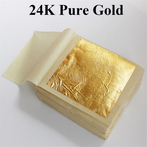 10pcs Pure 24K Edible Gold Leaf Sheets For Cooking Framing Art Craft Decorating 8