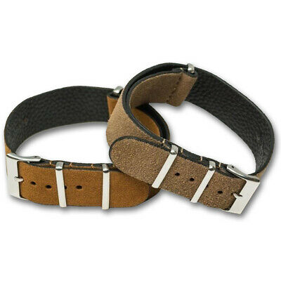Genuine SUEDE Leather Watch Strap Band NATO G10 Military MoD Zulu brown tan 7