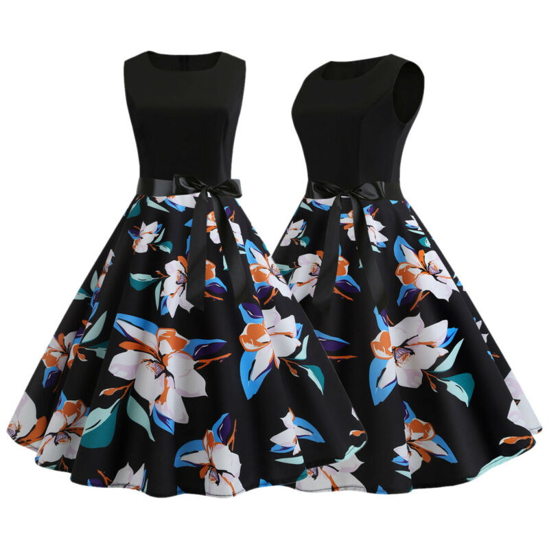 ee4001ee52f29 WOMENS LADIES 50S Style Vintage Belted Rockabilly Party Retro Floral Swing  Dress