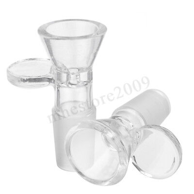 14mm/18mm Clear Slide Male Glass Bowl W/ Handle Funnel Type Bowl Medical Lab 2