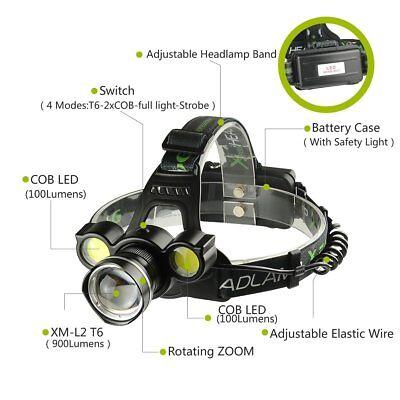 Linterna Frontal Recargable de cabeza luz LED 8000LM T6 2X COB ZOOM Impermeable 5